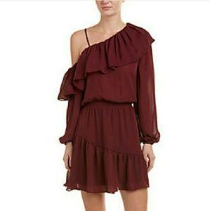 Parker assymetrical ruffle maroon dress M mini
